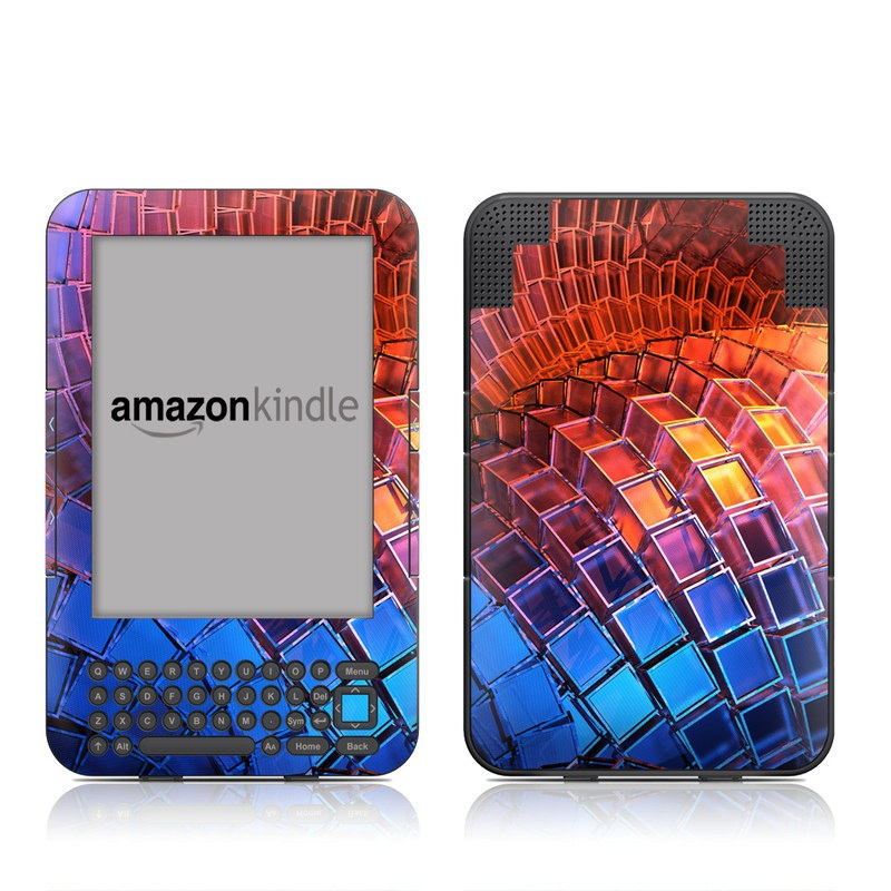 Amazon Kindle 3rd Gen Skin design of Blue, Red, Orange, Light, Pattern, Architecture, Design, Fractal art, Colorfulness, Psychedelic art with black, red, blue, purple, gray colors