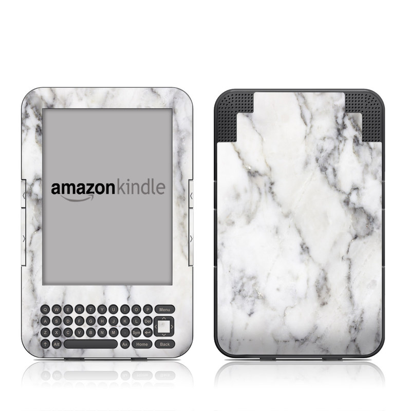 Amazon Kindle 3rd Gen Skin design of White, Geological phenomenon, Marble, Black-and-white, Freezing with white, black, gray colors