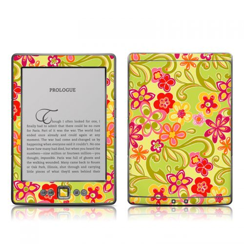 Hippie Flowers Hot Pink Amazon Kindle 4 Skin