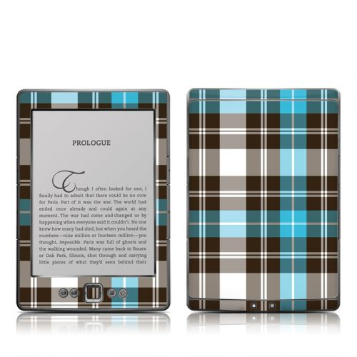 Turquoise Plaid Amazon Kindle 4 Skin