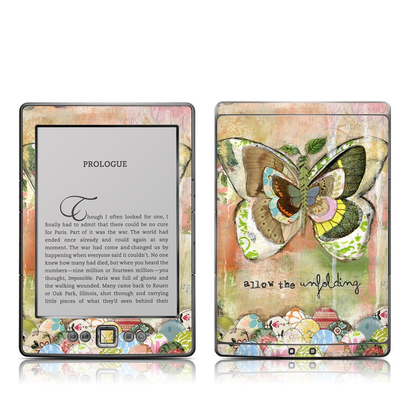 Amazon Kindle 4th Gen Skin design of Butterfly, Art, Fictional character, Pollinator, Moths and butterflies, Watercolor paint, Illustration with green, brown, yellow, blue, pink, red colors