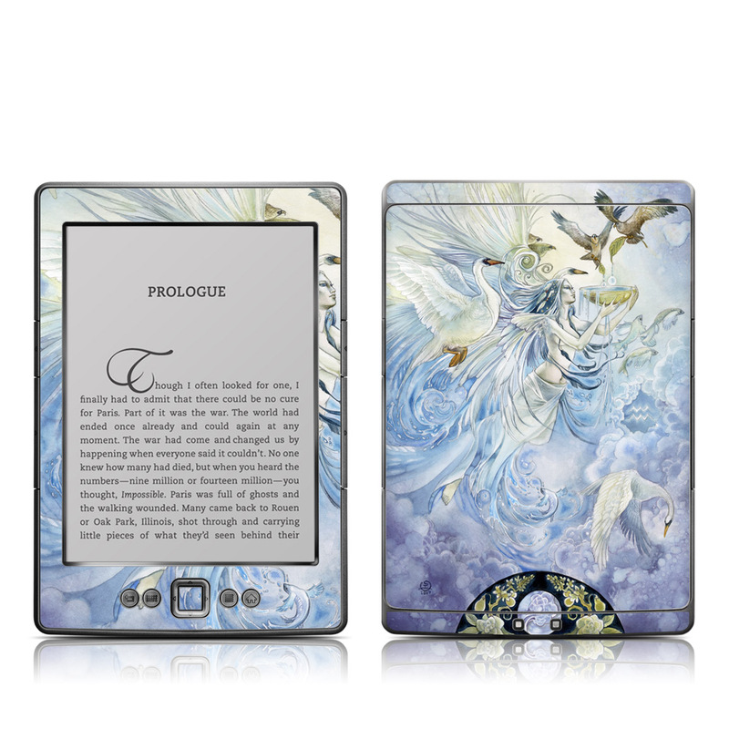 Amazon Kindle 4th Gen Skin design of Illustration, Fictional character, Mythology, Angel, Cg artwork, Art, Painting, Supernatural creature, Watercolor paint, Mythical creature with blue, white, brown, purple, yellow colors