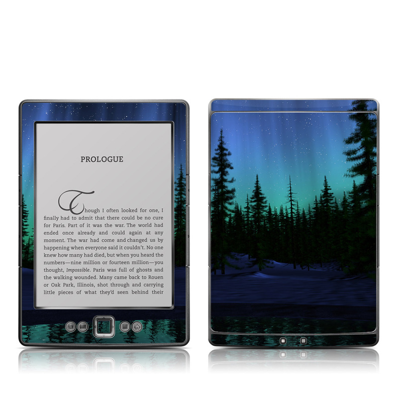 Amazon Kindle 4th Gen Skin design of Aurora, Nature, Sky, shortleaf black spruce, Natural landscape, Tree, Wilderness, Natural environment, Biome, Spruce-fir forest with blue, purple, green, black colors