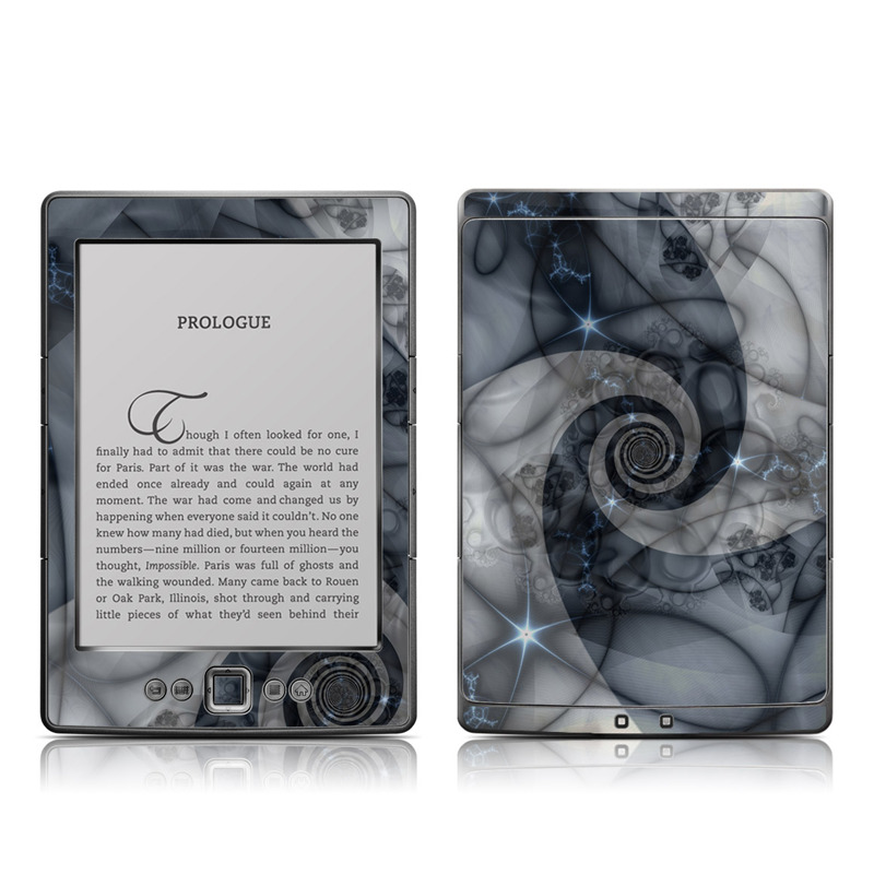 Amazon Kindle 4th Gen Skin design of Eye, Drawing, Black-and-white, Design, Pattern, Art, Tattoo, Illustration, Fractal art with black, gray colors