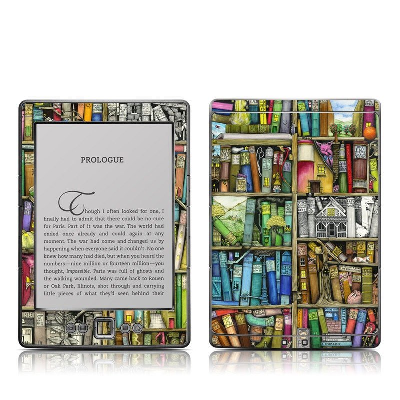 Amazon Kindle 4th Gen Skin design of Collection, Art, Visual arts, Bookselling, Shelving, Painting, Building, Shelf, Publication, Modern art with brown, green, blue, red, pink colors
