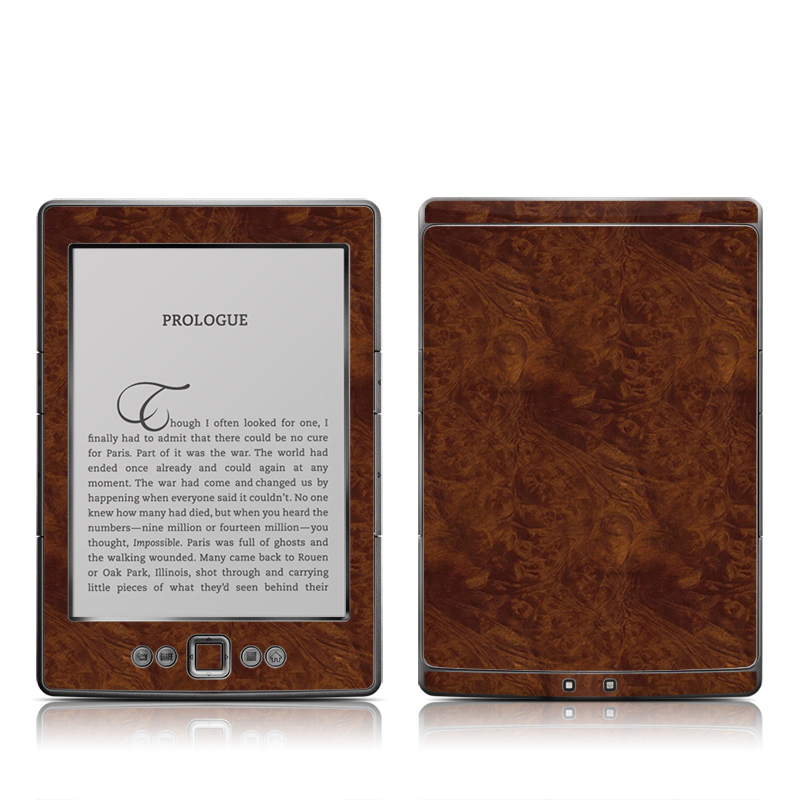 Dark Burlwood Amazon Kindle 4 Skin