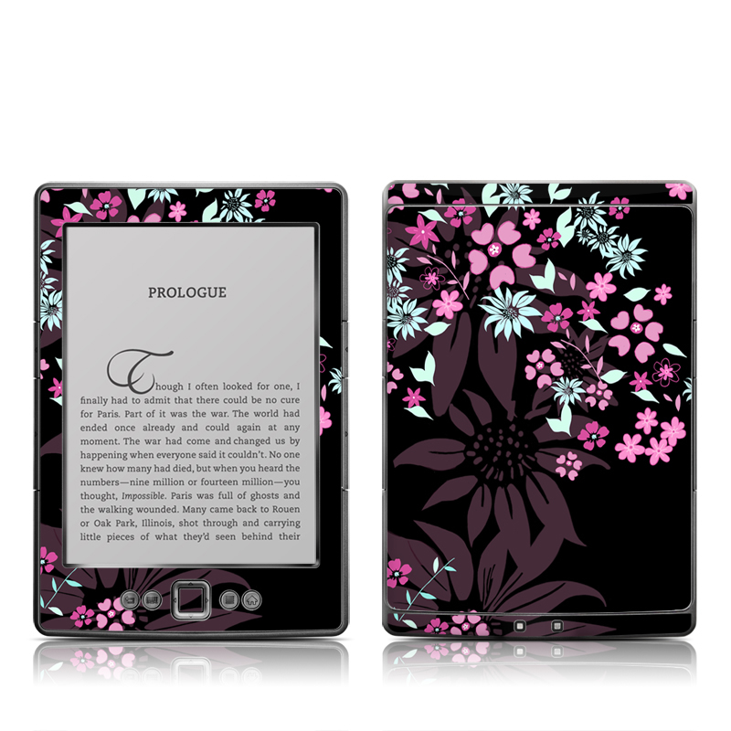 Dark Flowers Amazon Kindle 4 Skin