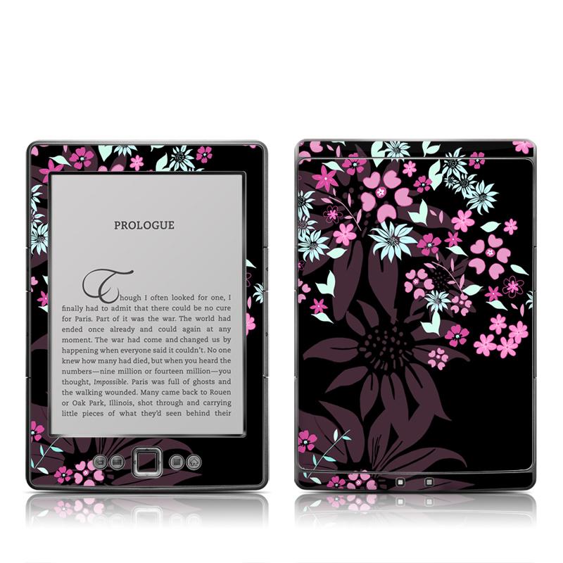 Dark Flowers Amazon Kindle 4 Skin