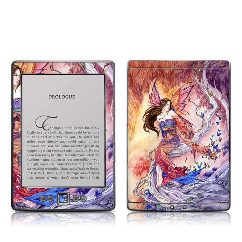 Amazon Kindle 4th Gen Skin design of Cg artwork, Illustration, Fictional character, Cartoon, Anime, Long hair, Art, Mythology, Supernatural creature, Mythical creature with gray, red, pink, black, green, purple colors