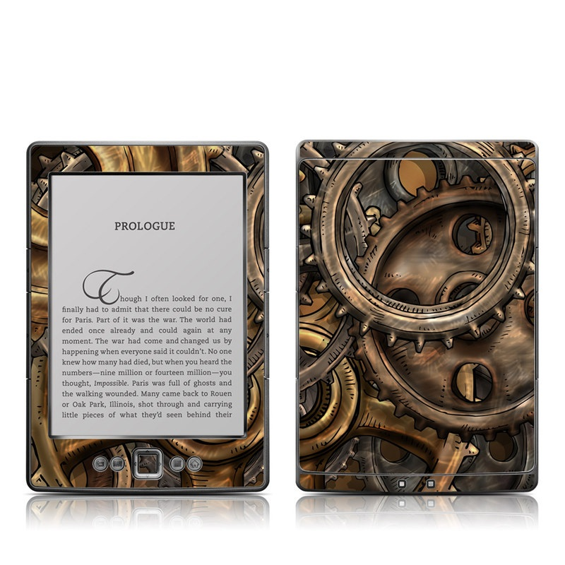 Amazon Kindle 4th Gen Skin design of Metal, Auto part, Bronze, Brass, Copper with black, red, green, gray colors