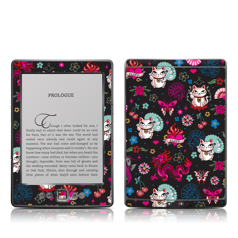 Amazon Kindle 4th Gen Skin design of Cartoon, Pink, Illustration, Pattern, Graphic design, Design, Font, Visual arts, Graphics, Art with black, gray, red, purple, pink, white colors