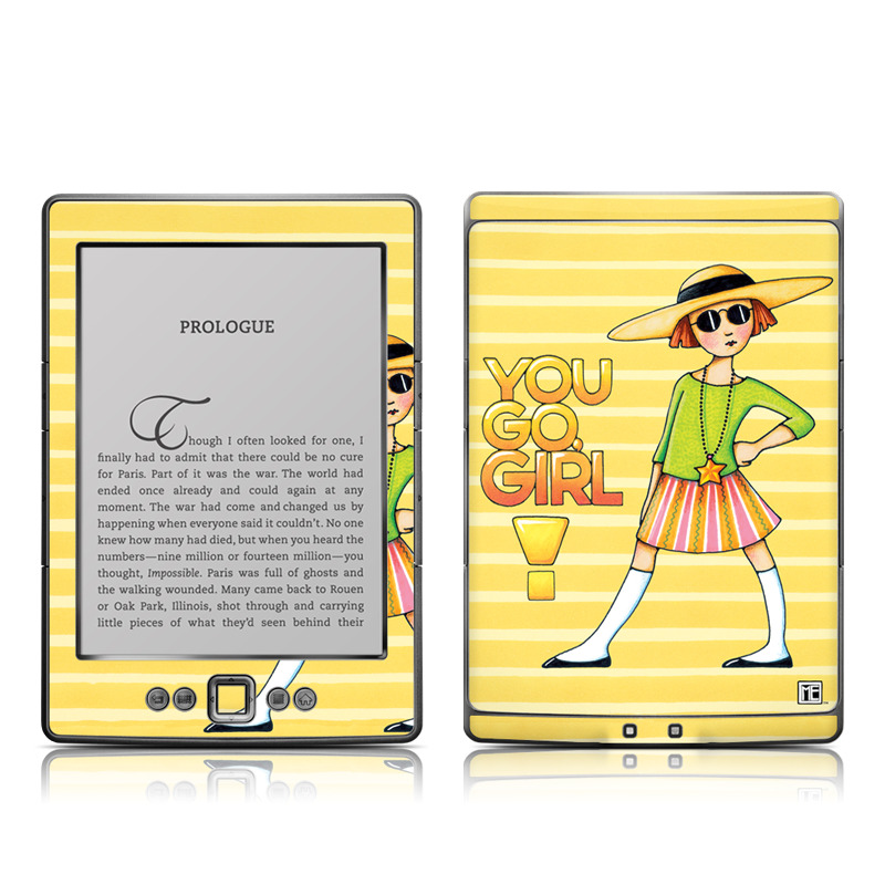 Amazon Kindle 4th Gen Skin design of Cartoon, Illustration, Clip art, Art with orange, pink, yellow, green, gray, black colors