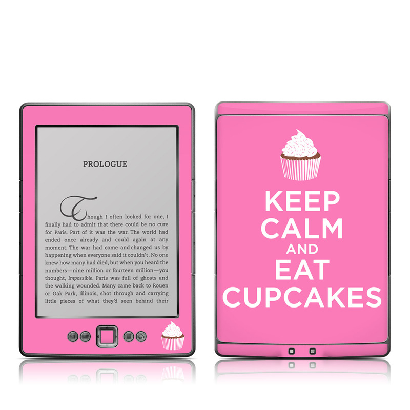 Amazon Kindle 4th Gen Skin design of Pink, Cupcake, Baking cup, Logo, Buttercream, Font, Icing, Muffin, Baking, Dessert with pink, white colors