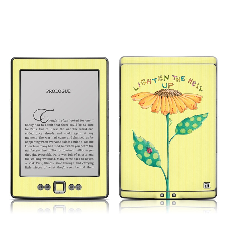 Amazon Kindle 4th Gen Skin design of Flower, Plant, Botany, Flowering plant, Illustration, Wildflower, Daisy family, Coneflower, Pedicel with yellow, green, red, black, orange, blue colors