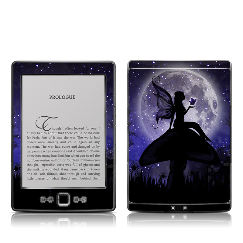 Amazon Kindle 4th Gen Skin design of Purple, Sky, Moonlight, Cg artwork, Fictional character, Darkness, Night, Illustration, Space, Star with black, blue, gray, purple colors