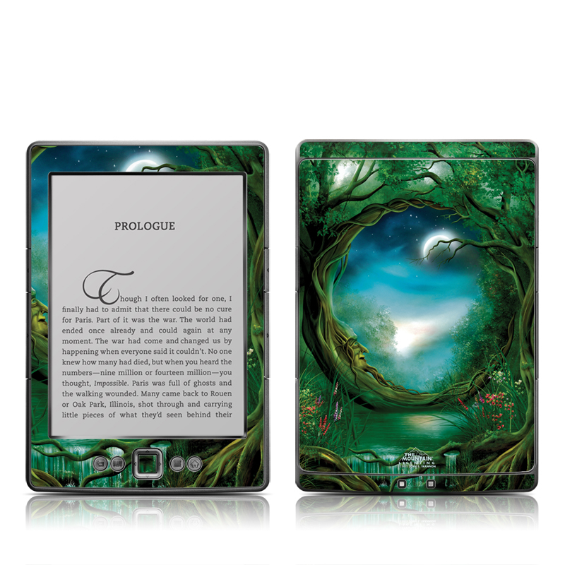 Amazon Kindle 4th Gen Skin design of Fractal art, Art, Organism, Fictional character, Earth, Cg artwork with black, blue, green, gray colors