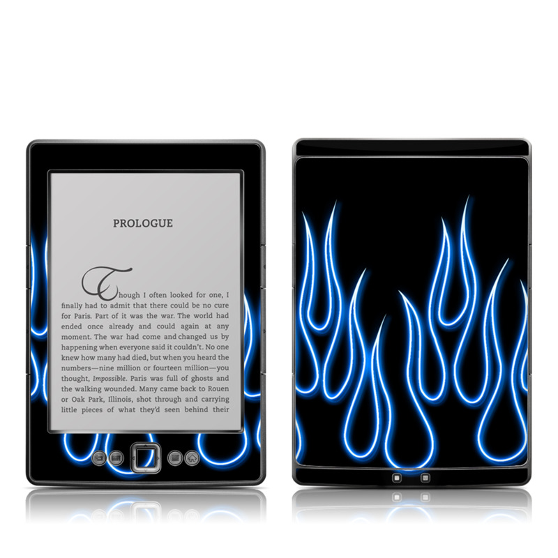 Amazon Kindle 4th Gen Skin design of Text, Light, Font, Neon, Design, Graphics, Electric blue, Neon sign, Pattern, Darkness with black, blue colors