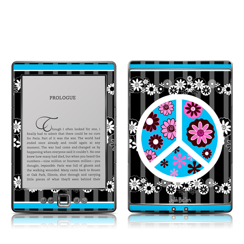 Peace Flowers Black Amazon Kindle 4 Skin