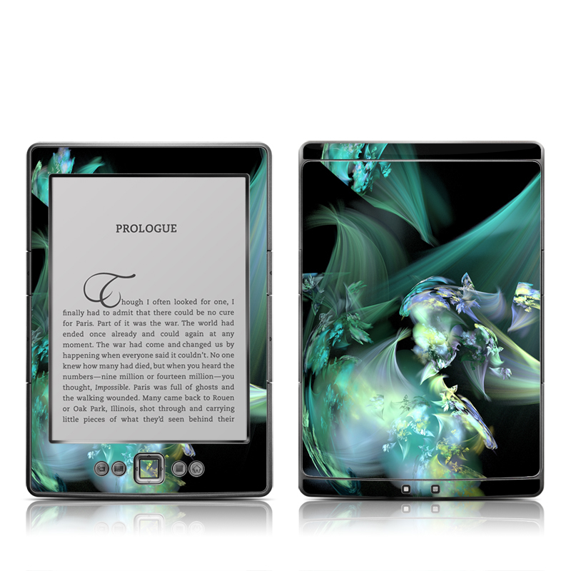 Amazon Kindle 4th Gen Skin design of Fractal art, Cg artwork, Fictional character, Organism, Graphic design, Graphics, Art, Photography, Mythical creature, Dragon with black, blue, gray, green colors