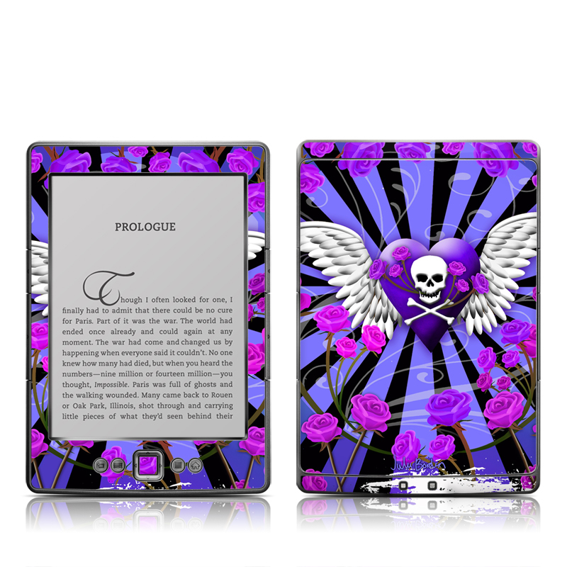 Skull & Roses Purple Amazon Kindle 4 Skin