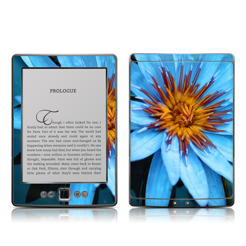Amazon Kindle 4th Gen Skin design of Flowering plant, Blue, Petal, Flower, Plant, Botany, Close-up, Aquatic plant, water lily, Wildflower with black, blue, purple, red colors