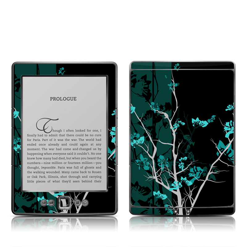 Amazon Kindle 4th Gen Skin design of Branch, Black, Blue, Green, Turquoise, Teal, Tree, Plant, Graphic design, Twig with black, blue, gray colors