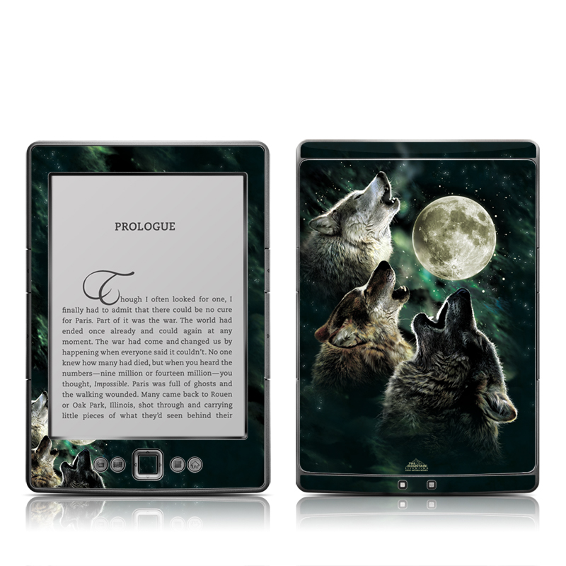 Amazon Kindle 4th Gen Skin design of Wolf, Light, Astronomical object, Moon, Wildlife, Organism, Moonlight, Sky, Atmosphere, Celestial event with black, gray, green colors