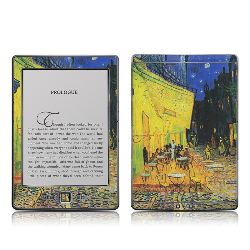 Amazon Kindle 4th Gen Skin design of Painting, Art, Yellow, Watercolor paint, Illustration, Modern art, Visual arts, Street, Infrastructure, Tree with green, black, blue, gray, red colors