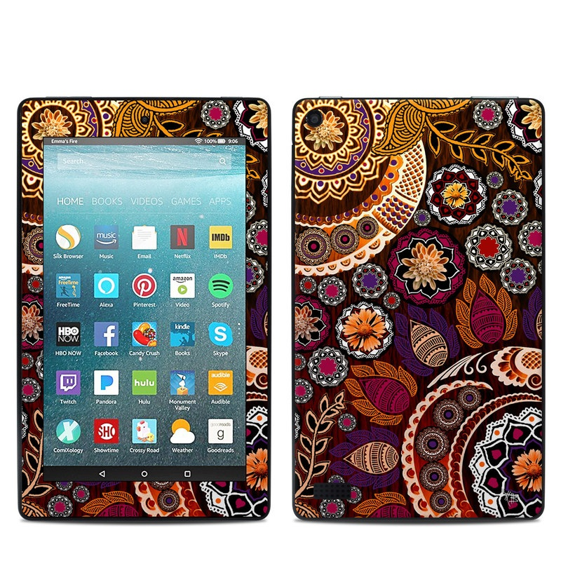 Amazon Fire 7 2017 Skin design of Pattern, Motif, Visual arts, Design, Art, Floral design, Textile, Paisley, Tapestry, Circle with brown, purple, red, white, black colors