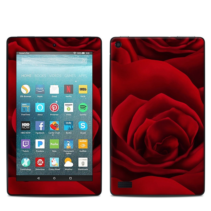 Amazon Fire 7 2017 Skin design of Red, Garden roses, Rose, Petal, Flower, Nature, Floribunda, Rose family, Close-up, Plant with black, red colors