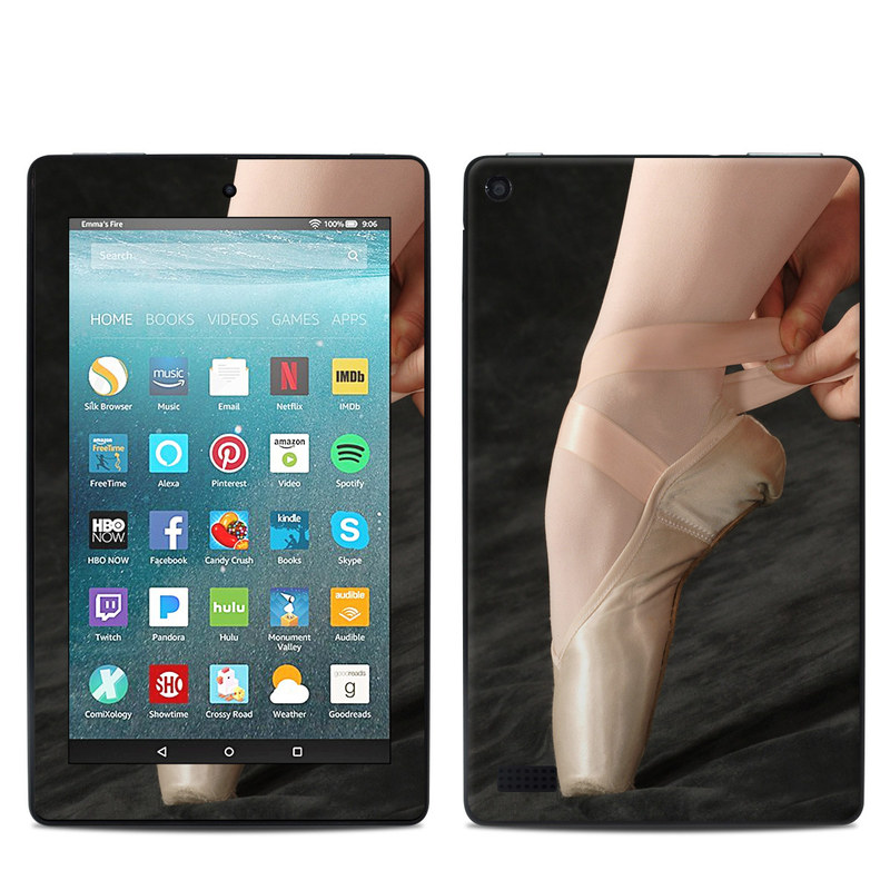 Amazon Fire 7 2017 Skin design of Footwear, Ballet, Pointe shoe, Dance, Shoe, Leg, Performing arts, Joint, Ballet shoe, Hand with black, gray, red, green, pink colors