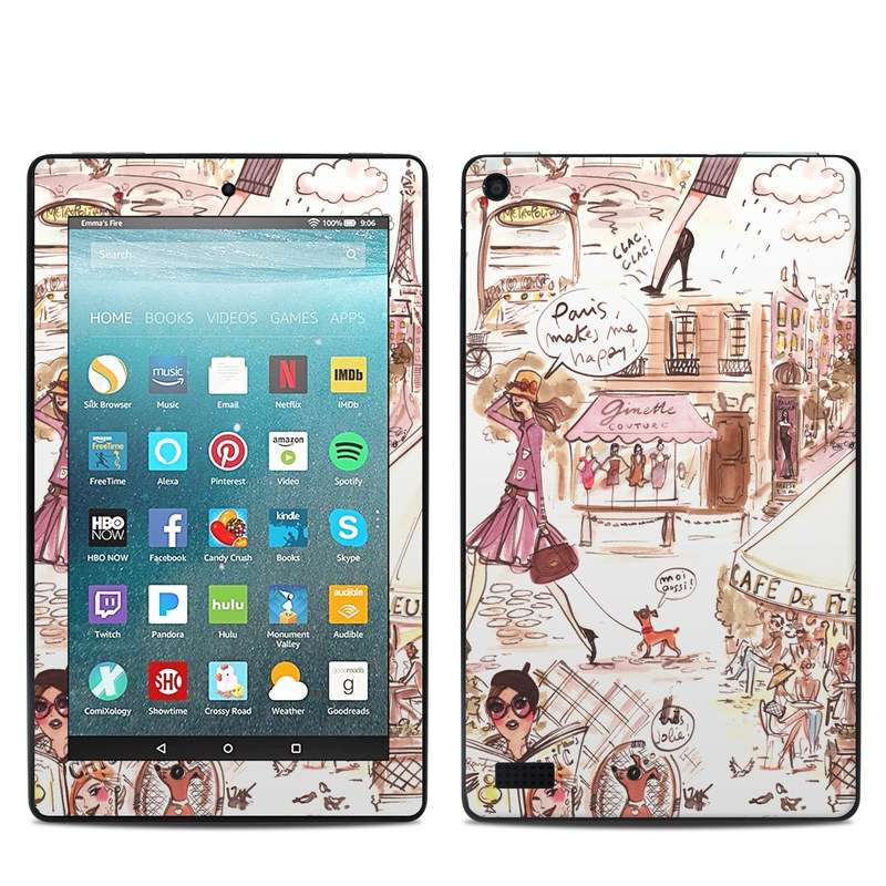 Amazon Fire 7 2017 Skin design of Cartoon, Illustration, Comic book, Fiction, Comics, Art, Human, Organism, Fictional character, Style with gray, white, pink, red, yellow, green colors