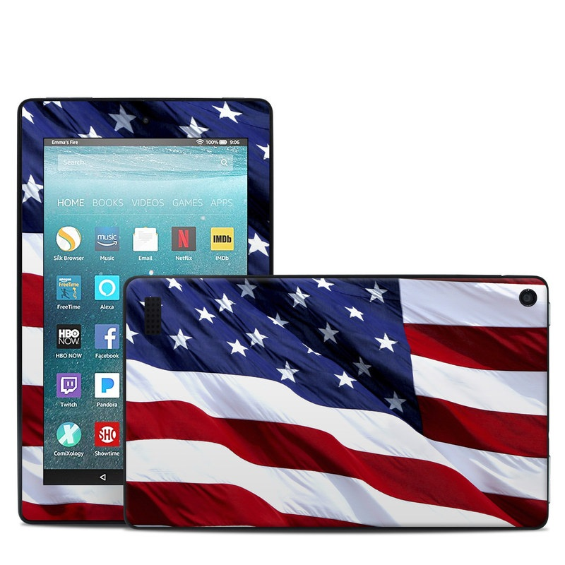 Amazon Fire 7 2017 Skin design of Flag, Flag of the united states, Flag Day (USA), Veterans day, Memorial day, Holiday, Independence day, Event with red, blue, white colors