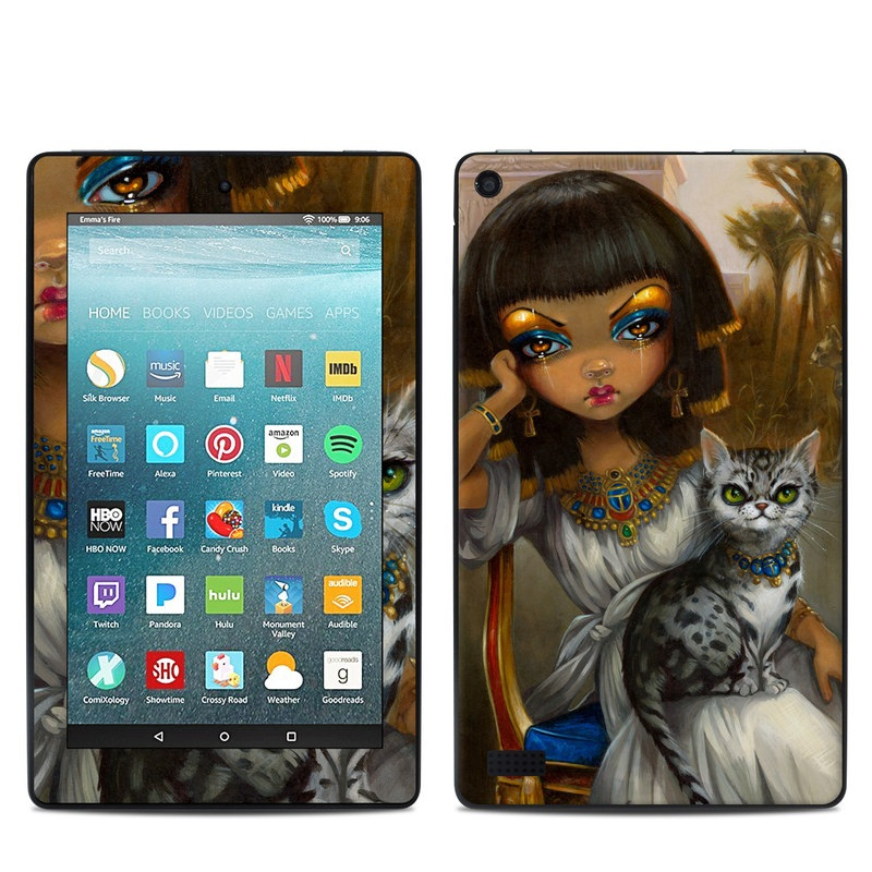 Amazon Fire 7 2017 Skin design of Doll, Face, Cat, Whiskers, Lady, Felidae, Illustration, Eye, Iris, Art with black, gray, red, green colors