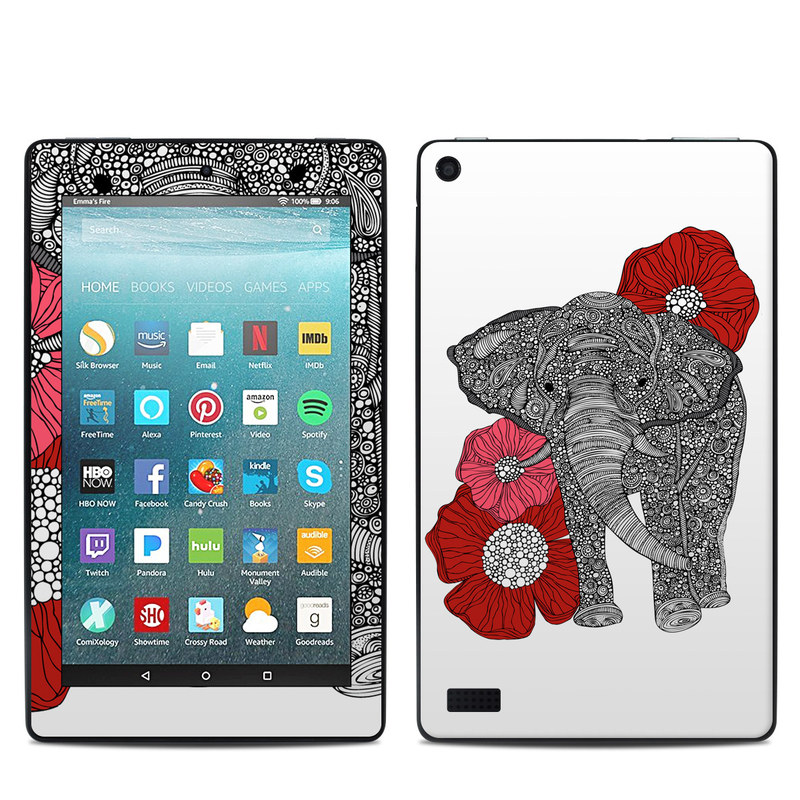 Amazon Fire 7 2017 Skin design of Indian elephant, Elephants and Mammoths, African elephant, Line art, Illustration with gray, black, white, red colors