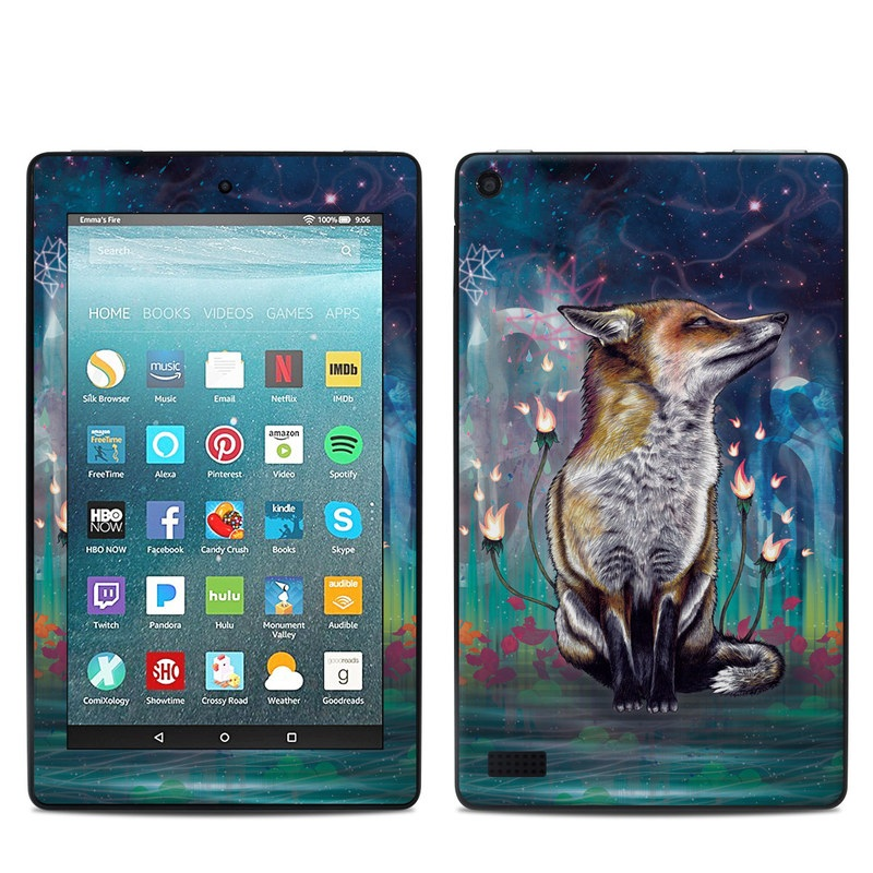 Amazon Fire 7 2017 Skin design of Red fox, Art, Wildlife, Canidae, Illustration, Fox, Carnivore, Painting, Dhole, Red wolf with black, gray, blue, red, green colors