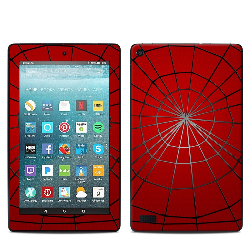 Amazon Fire 7 2017 Skin design of Red, Symmetry, Circle, Pattern, Line with red, black, gray colors