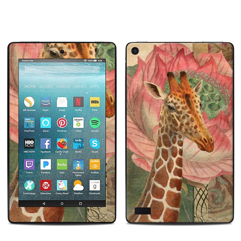 Amazon Fire 7 2017 Skin design of Giraffe, Giraffidae, Terrestrial animal, Wildlife, Head, Adaptation, Neck, Pink, Organism, Snout with brown, yellow, pink, green, red colors