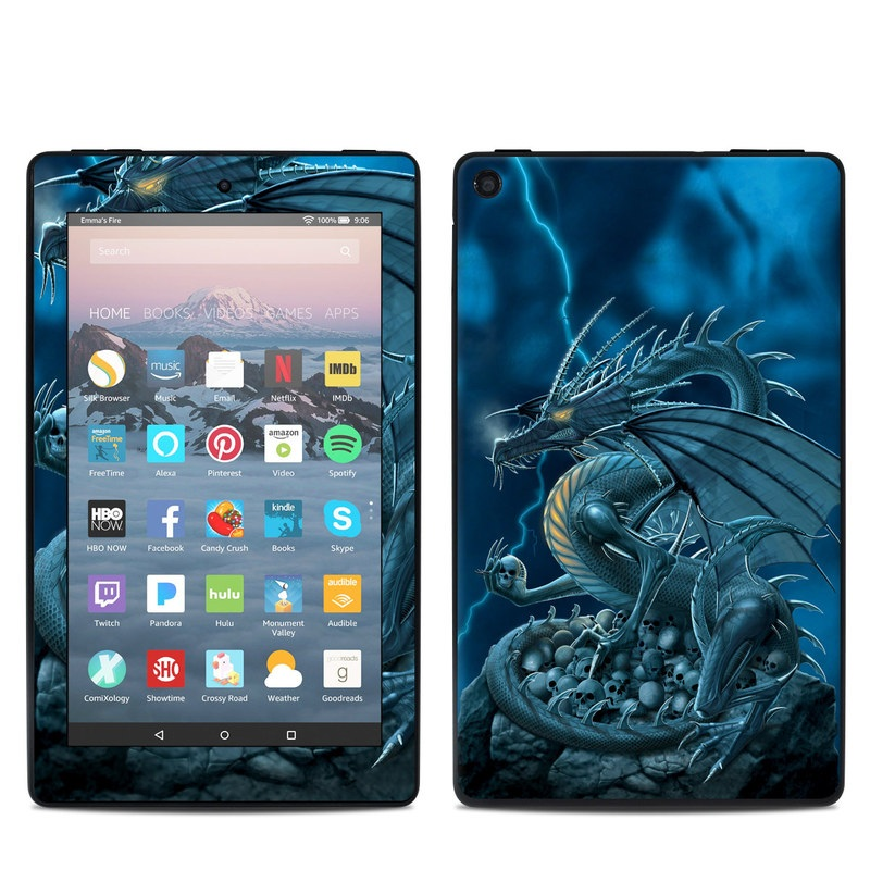 Amazon Fire 7 2019 Skin design of Cg artwork, Dragon, Mythology, Fictional character, Illustration, Mythical creature, Art, Demon with blue, yellow colors