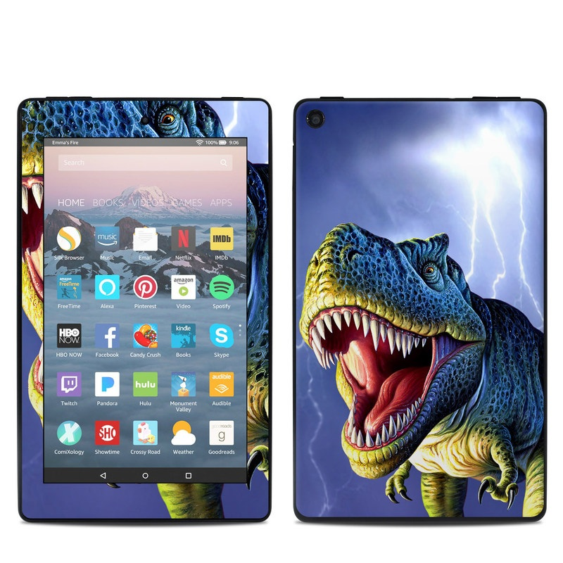 Amazon Fire 7 2019 Skin design of Dinosaur, Extinction, Tyrannosaurus, Velociraptor, Tooth, Jaw, Organism, Mouth, Fictional character, Art with blue, green, yellow, orange, red colors
