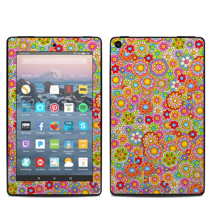 Amazon Fire 7 2019 Skin design of Pattern, Design, Textile, Visual arts with pink, red, orange, yellow, green, blue, purple colors