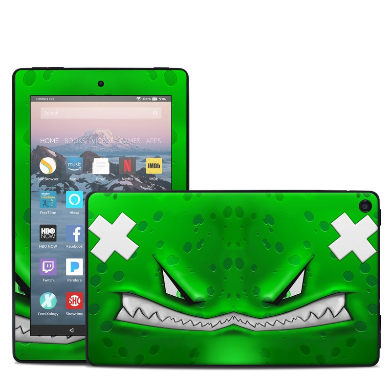 Amazon Fire 7 2019 Skin design of Green, Font, Animation, Logo, Graphics, Games with green, white colors