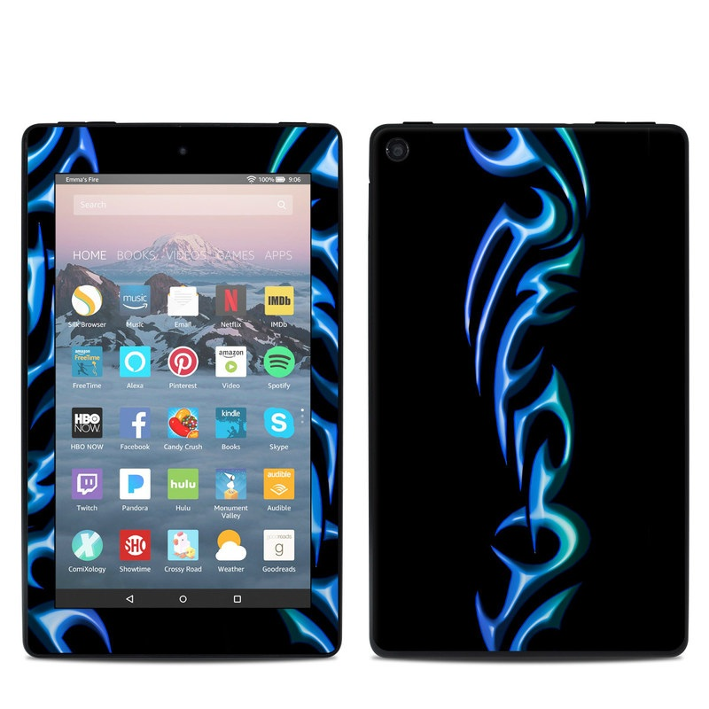 Amazon Fire 7 2019 Skin design of Electric blue, Text, Font, Neon, Graphic design, Logo, Graphics, Brand, Neon sign with black, blue colors