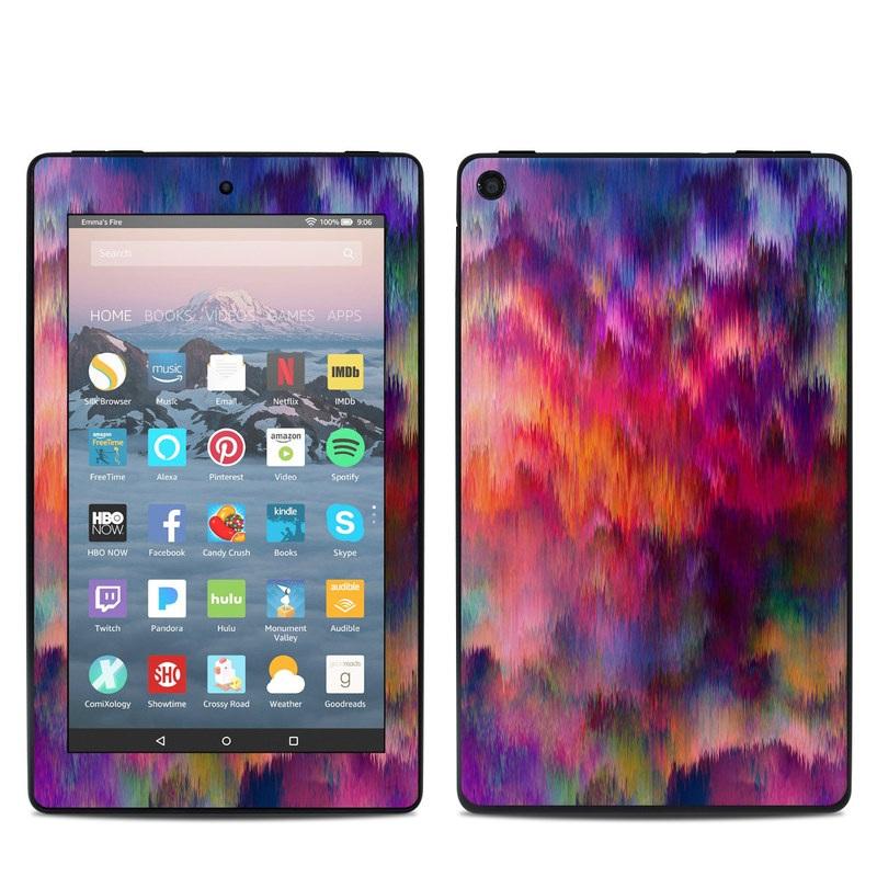 Amazon Fire 7 2019 Skin design of Sky, Purple, Pink, Blue, Violet, Painting, Watercolor paint, Lavender, Cloud, Art with red, blue, purple, orange, green colors