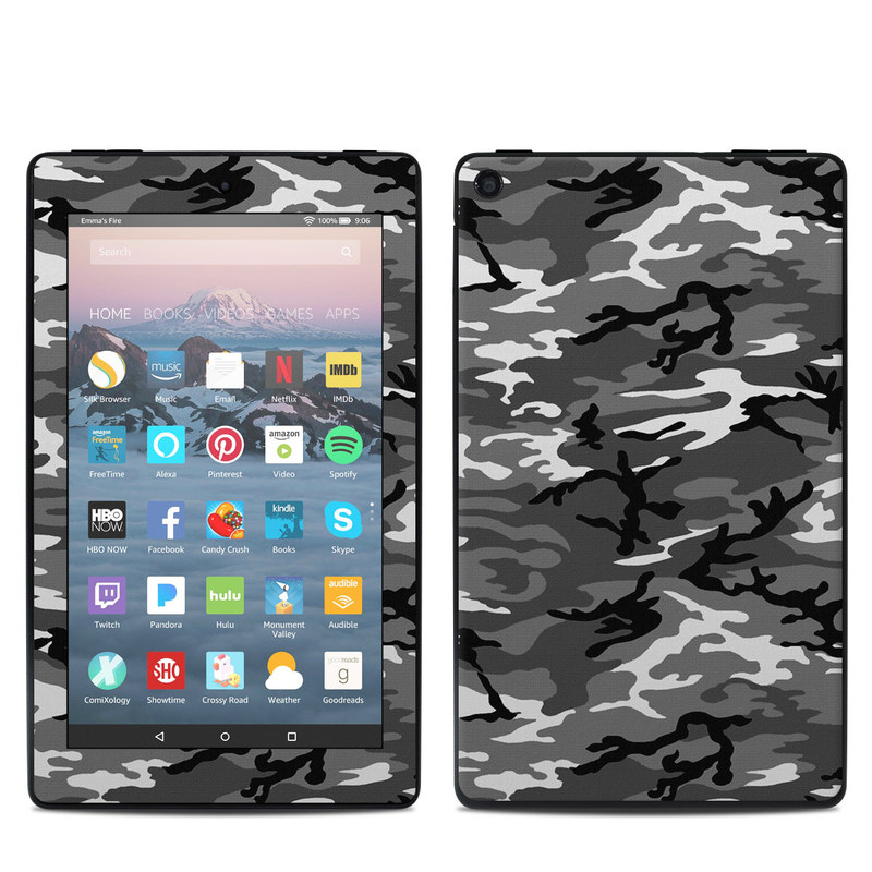 Amazon Fire 7 2019 Skin design of Military camouflage, Pattern, Clothing, Camouflage, Uniform, Design, Textile with black, gray colors