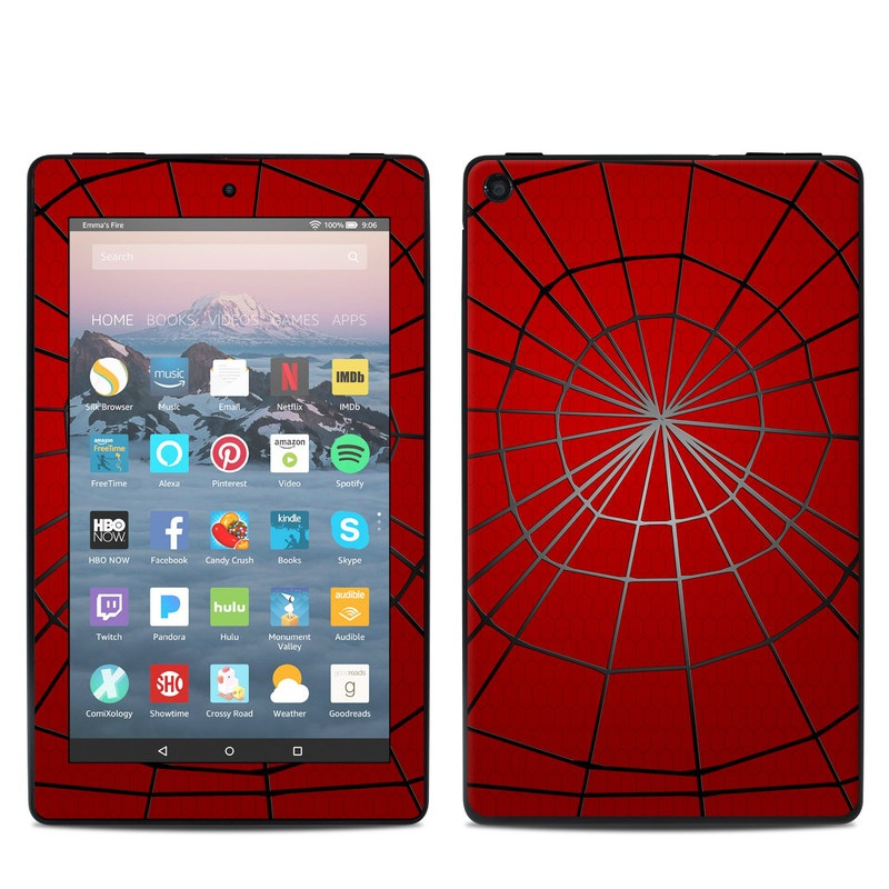 Amazon Fire 7 2019 Skin design of Red, Symmetry, Circle, Pattern, Line with red, black, gray colors