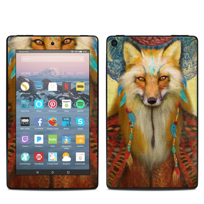 Amazon Fire 7 2019 Skin design of Red fox, Canidae, Fox, Wildlife, Swift fox, Carnivore, Jackal, Fur, Snout, Art with red, black, gray, green, blue colors