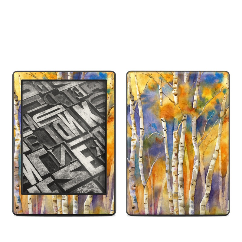 Amazon Kindle 8th Gen Skin design of Canoe birch, Watercolor paint, Tree, Birch, Woody plant, Painting, Plant, Birch family, Paint, Trunk with orange, yellow, green, white, purple, blue colors