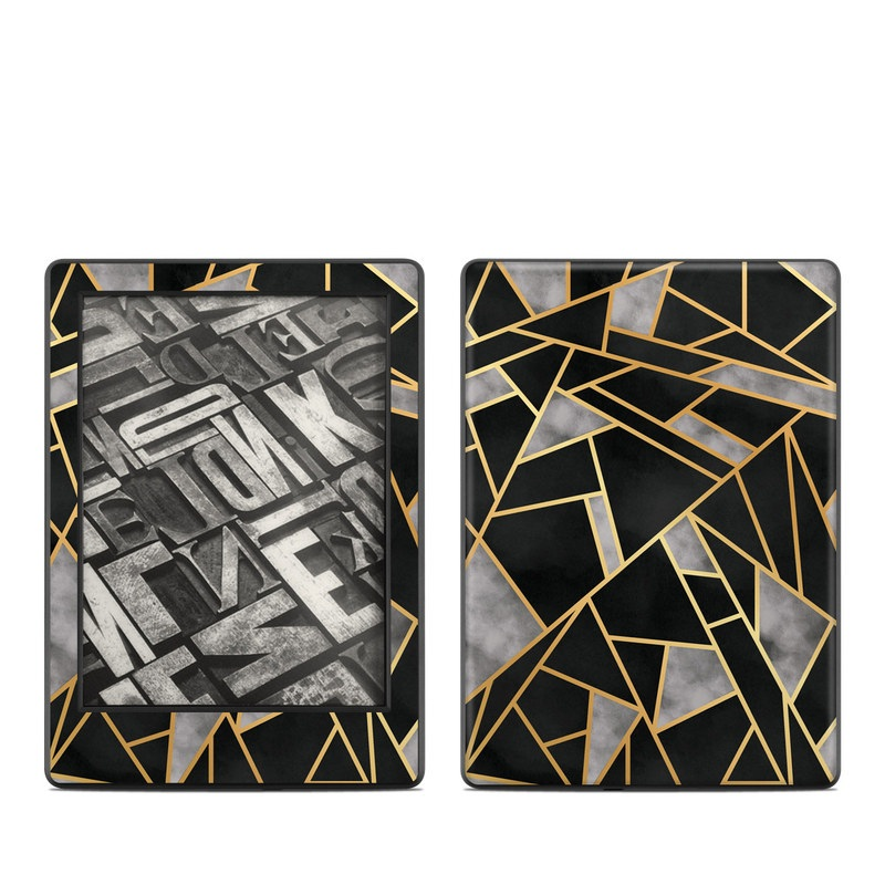 Amazon Kindle 8th Gen Skin design of Pattern, Triangle, Yellow, Line, Tile, Floor, Design, Symmetry, Architecture, Flooring with black, gray, yellow colors