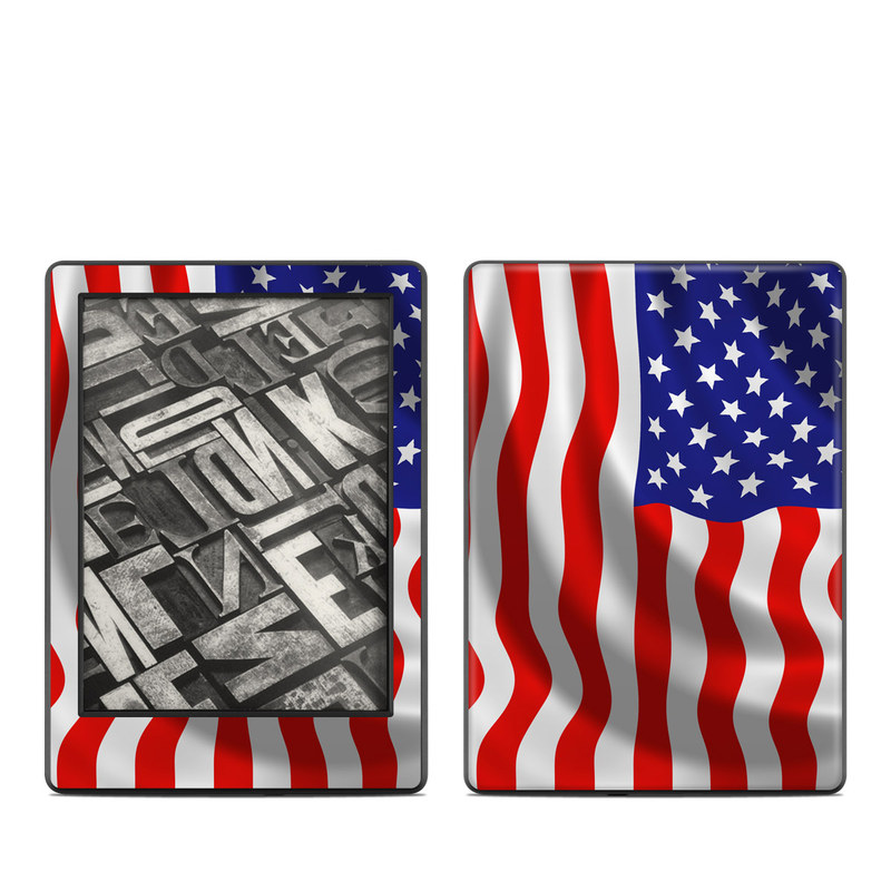 Amazon Kindle 8th Gen Skin design of Flag of the united states, Flag, Flag Day (USA), Veterans day, Independence day, Memorial day, Holiday with gray, red, blue, black, white colors